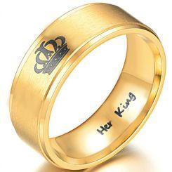 COI Gold Tone Titanium King Crown Step Edges Ring-3988