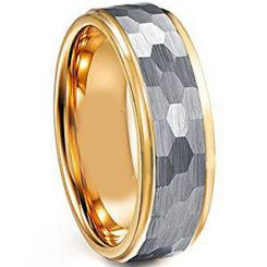 COI Titanium Silver Gold Tone Hammered Ring-4001