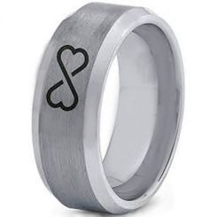 *COI Tungsten Carbide Infinity Heart Beveled Edges Ring-TG4003