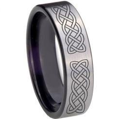 COI Titanium Black Silver Celtic Pipe Cut Flat Ring-4015