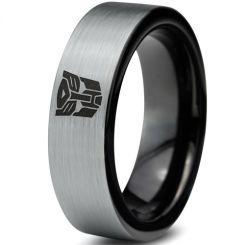COI Tungsten Carbide Black Silver Transformer Ring-TG4033