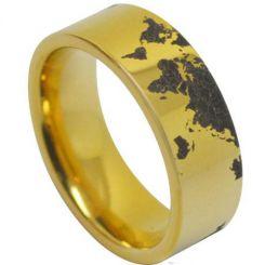 COI Tungsten Carbide Map Pipe Cut Flat Ring-4039