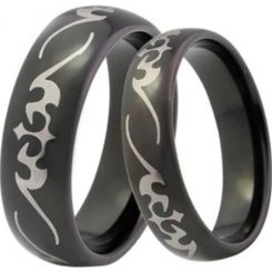 COI Black Tungsten Carbide Celtic Dome Court Ring-TG4041