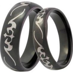 COI Black Tungsten Carbide Celtic Dome Court Ring-TG4041