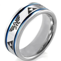 *COI Tungsten Carbide Blue Silver Legend of Zelda Double Groove Ring-TG4043