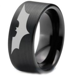 COI Black Titanium Batman Pipe Cut Flat Ring-4045