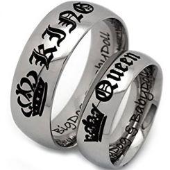 **COI Titanium King Queen Crown Dome Court Ring-4046