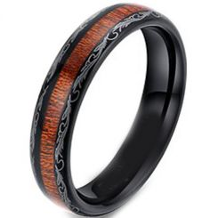 COI Black Titanium Damascus Wood Dome Court Ring-4057