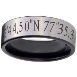 COI Titanium Black Silver Custom Co-ordinate Ring-jt5050