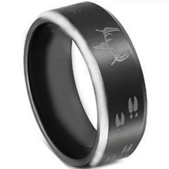COI Tungsten Carbide Deer Track Beveled Edges Ring-TG4061