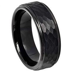 COI Black Titanium Hammered Step Edges Ring-4062