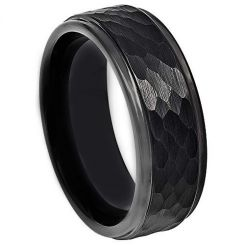 COI Black Tungsten Carbide Hammered Step Edges Ring - TG4730