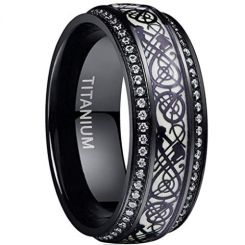 COI Black Titanium Dragon Ring With Cubic Zirconia-4076