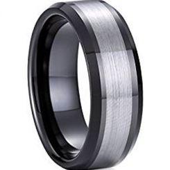COI Titanium Black Silver Beveled Edges Ring-4080