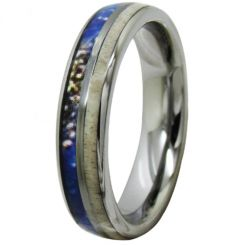COI Titanium Deer Antler & Blue Wood Dome Court Ring-4087