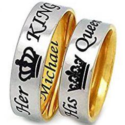 COI Tungsten Carbide Gold Tone Silver King Queen Crown Ring-TG3294