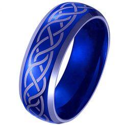 *COI Tungsten Carbide Blue Silver Celtic Beveled Edges Ring-4100