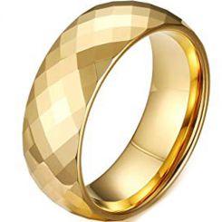 COI Gold Tone Titanium Faceted Ring-4109