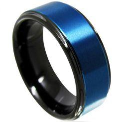 *COI Titanium Black Blue Step Edges Step Edges Ring-4113