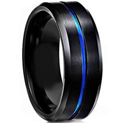 COI Titanium Black Blue Center Groove Beveled Edges Ring-4114
