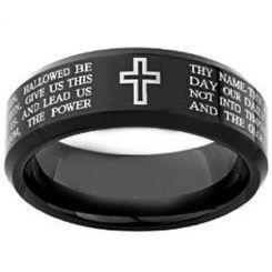 COI Black Tungsten Carbide Cross Scripture Ring-TG4148