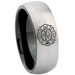 COI Tungsten Carbide Black Silver Firefighter Ring-TG4167