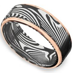 COI Titanium Black Rose Damascus Step Edges Ring-4171