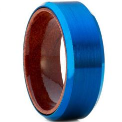 COI Blue Tungsten Carbide Wood Beveled Edges Ring-TG4178