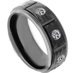 COI Black Titanium Hammered Ring With Cubic Zirconia-4181
