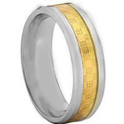 COI Titanium Beveled Edges Ring With Carbon Fiber-4105