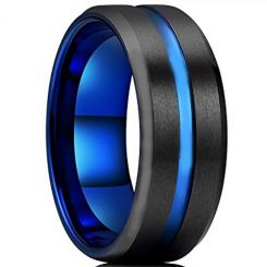 COI Titanium Black Blue Center Groove Beveled Edges Ring-4211