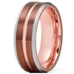 COI Tungsten Carbide Espresso Rose Center Groove Ring-TG4217