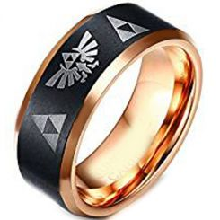 COI Tungsten Carbide Black Rose Legend of Zelda Ring-TG4253