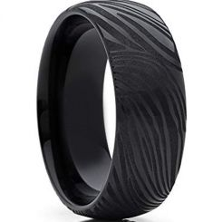 COI Black Tungsten Carbide Damascus Dome Court Ring-TG4281