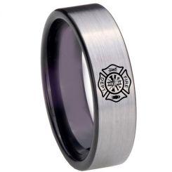 COI Tungsten Carbide Black Silver Firefighter Ring-TG4289