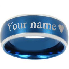 COI Tungsten Carbide Beveled Edges Custom Engraving Ring-4297