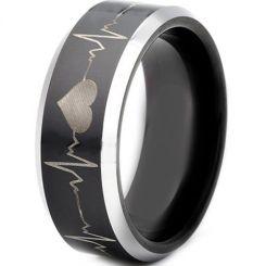 **COI Titanium Black Silver Heartbeat & Heart Ring-3503