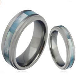 COI Tungsten Carbide Abalone Shell Step Edges Ring-TG4307