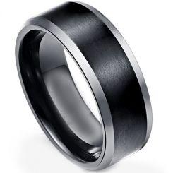COI Titanium Black Silver Beveled Edges Ring-3869