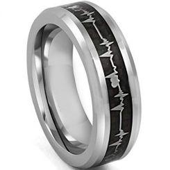*COI Tungsten Carbide Heartbeat & Heart Carbon Fiber Ring-TG4311