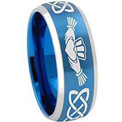 *COI Tungsten Carbide Blue Silver Mo Anam Cara Celtic Ring-TG4334