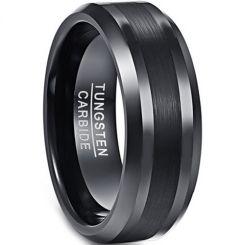 *COI Black Tungsten Carbide Center Line Beveled Edges Ring-4342