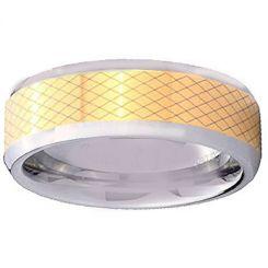 COI Tungsten Carbide Gold Tone Silver Laser Pattern Ring-TG4344