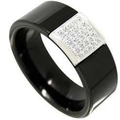 COI Black Titanium Ring With Cubic Zirconia-4353