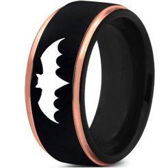 *COI Tungsten Carbide Black Rose Batman Step Edges Ring-TG4371