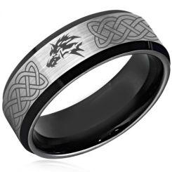 **COI Titanium Black Silver Wolf Celtic Beveled Edges Ring-4379