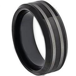 COI Titanium Black Silver Beveled Edges Ring-3595