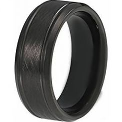 COI Black Titanium Sandblasted Double Grooves Ring-3632