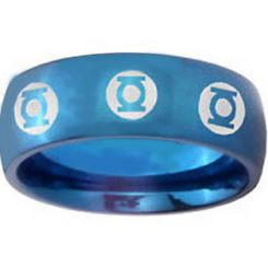 COI Blue Tungsten Carbide Green Lantern Dome Court Ring-TG4429