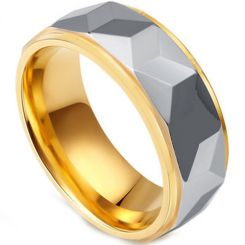 COI Tungsten Carbide Gold Tone Silver Faceted Ring-TG4444